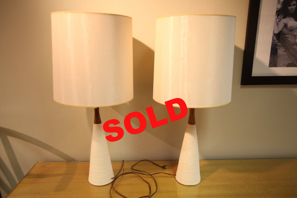 Set of 2 MCM Teak Lamps