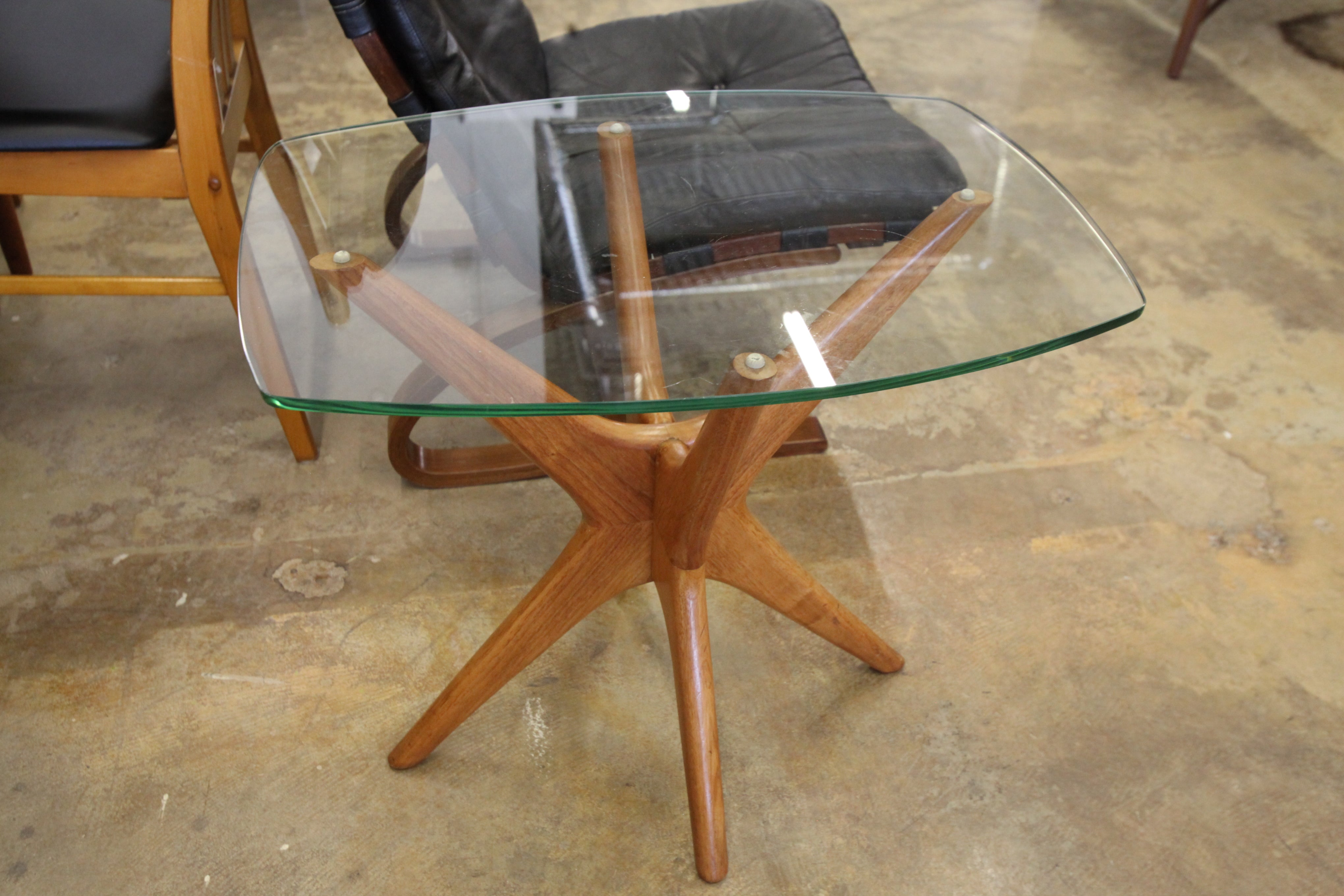 "Adrian Pearsall Style Walnut Side Table w/ Glass Top (25"" x 18.75"" x 22""H)"