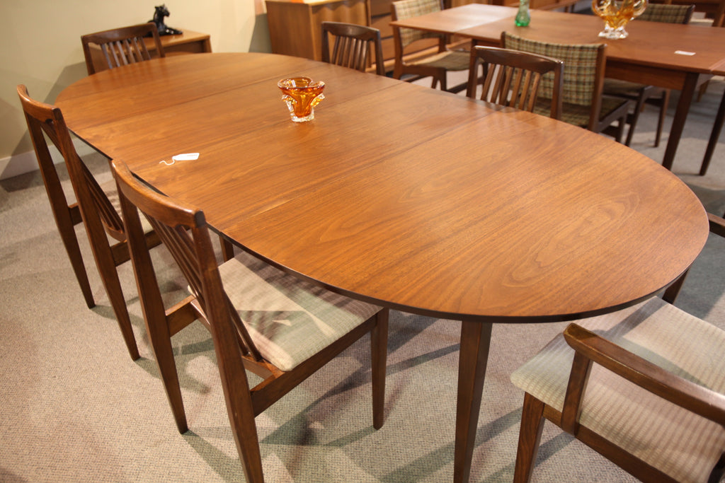 "Honderich Walnut table with 6 Chairs. (2 extensions) 92"" x 41.50"" or 67.50 x 41.50"