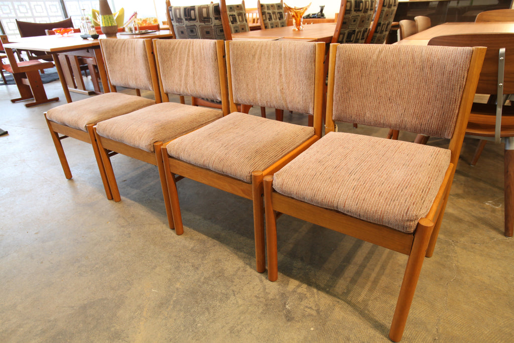 "Set of 4 Vintage Teak Dining Chairs (19.5""W x 31""H x 19""D)"