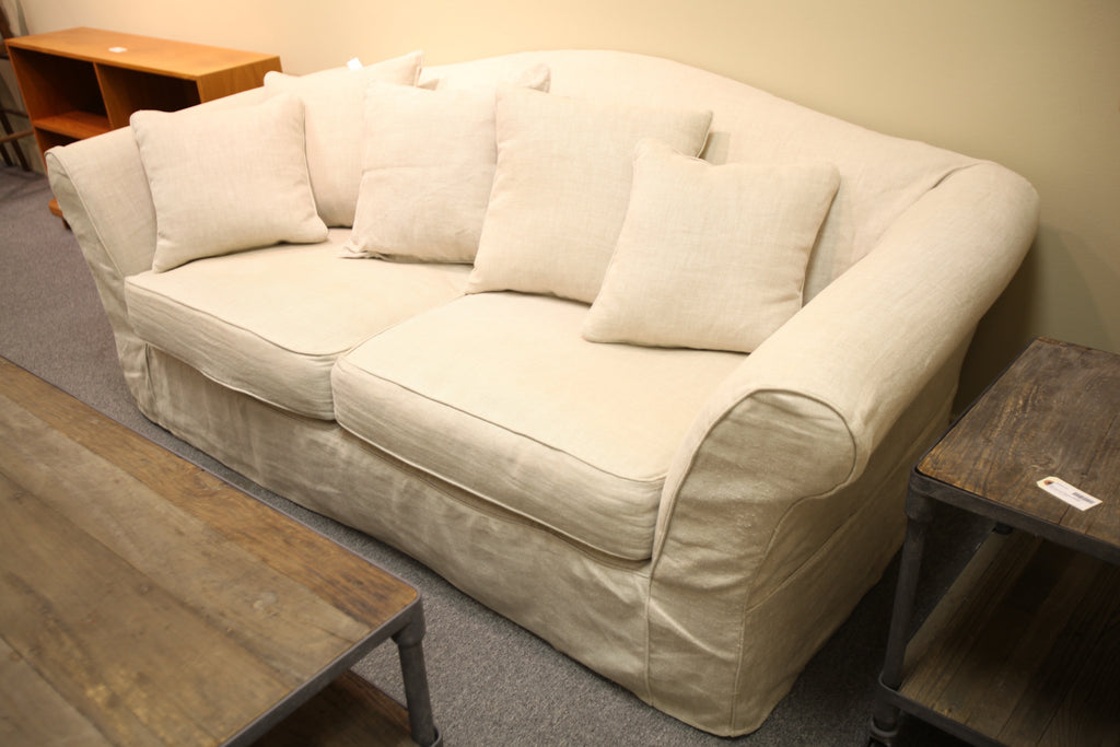 "Restoration Hardware Linen Love Seat (84"" long)"
