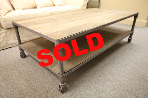 "Restoration Hardware Reclaimed/Rust Coffee Table (55""x31.5""x17.5"")"