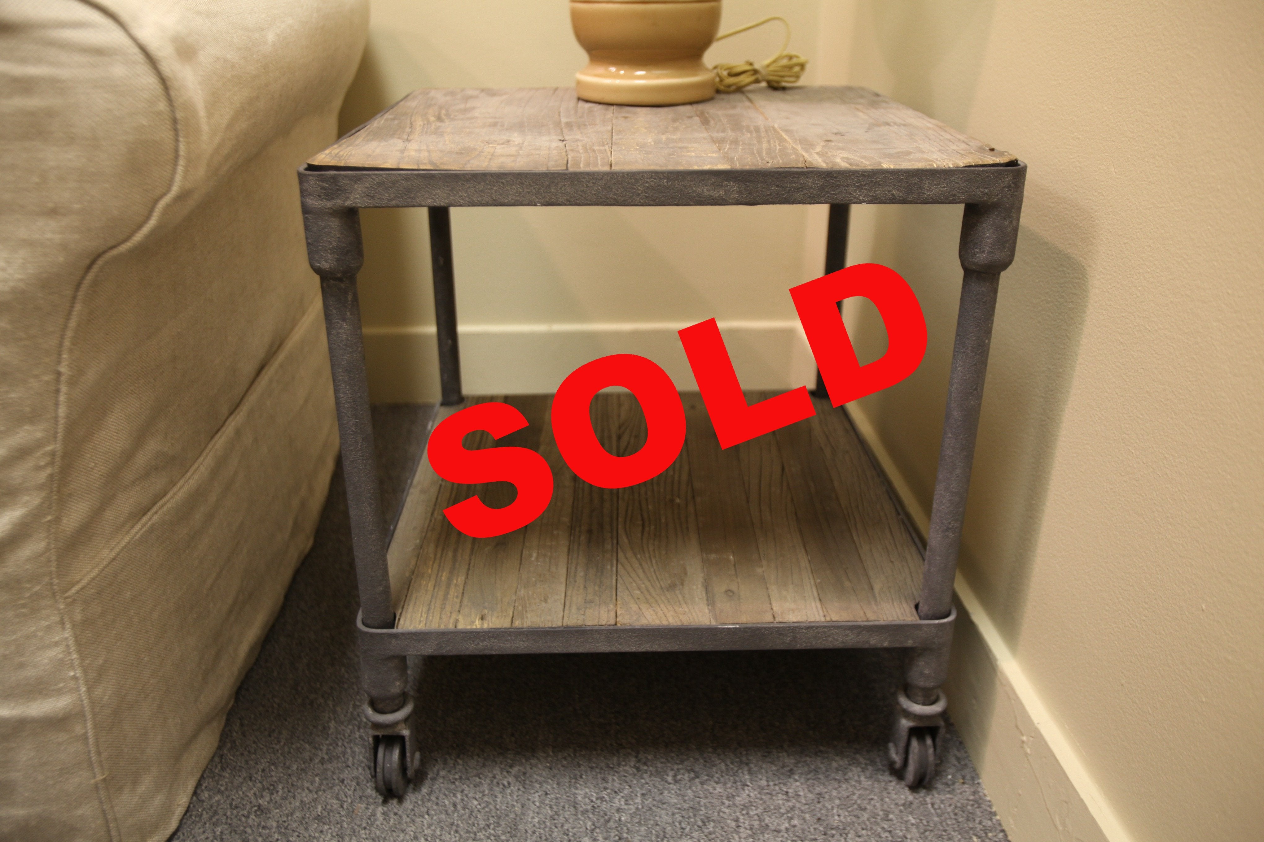 "Restoration Hardware Reclaimed/Rust Side Table (20""x20""x22""h)"