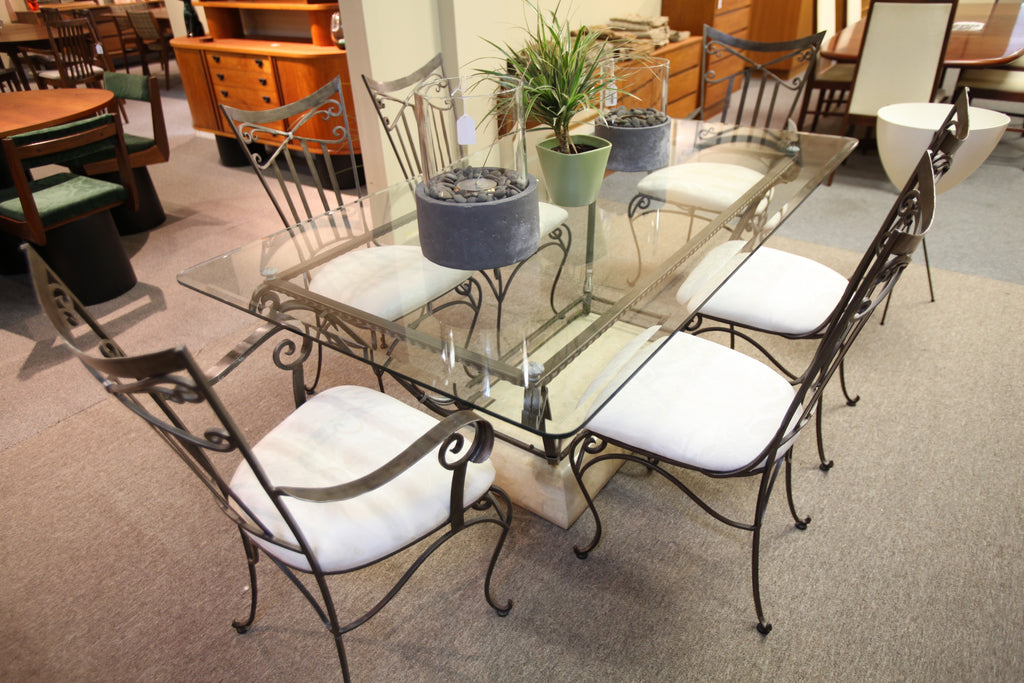 "Wrought Iron/Glass Table with 6 Chairs (72""x41.5"")"