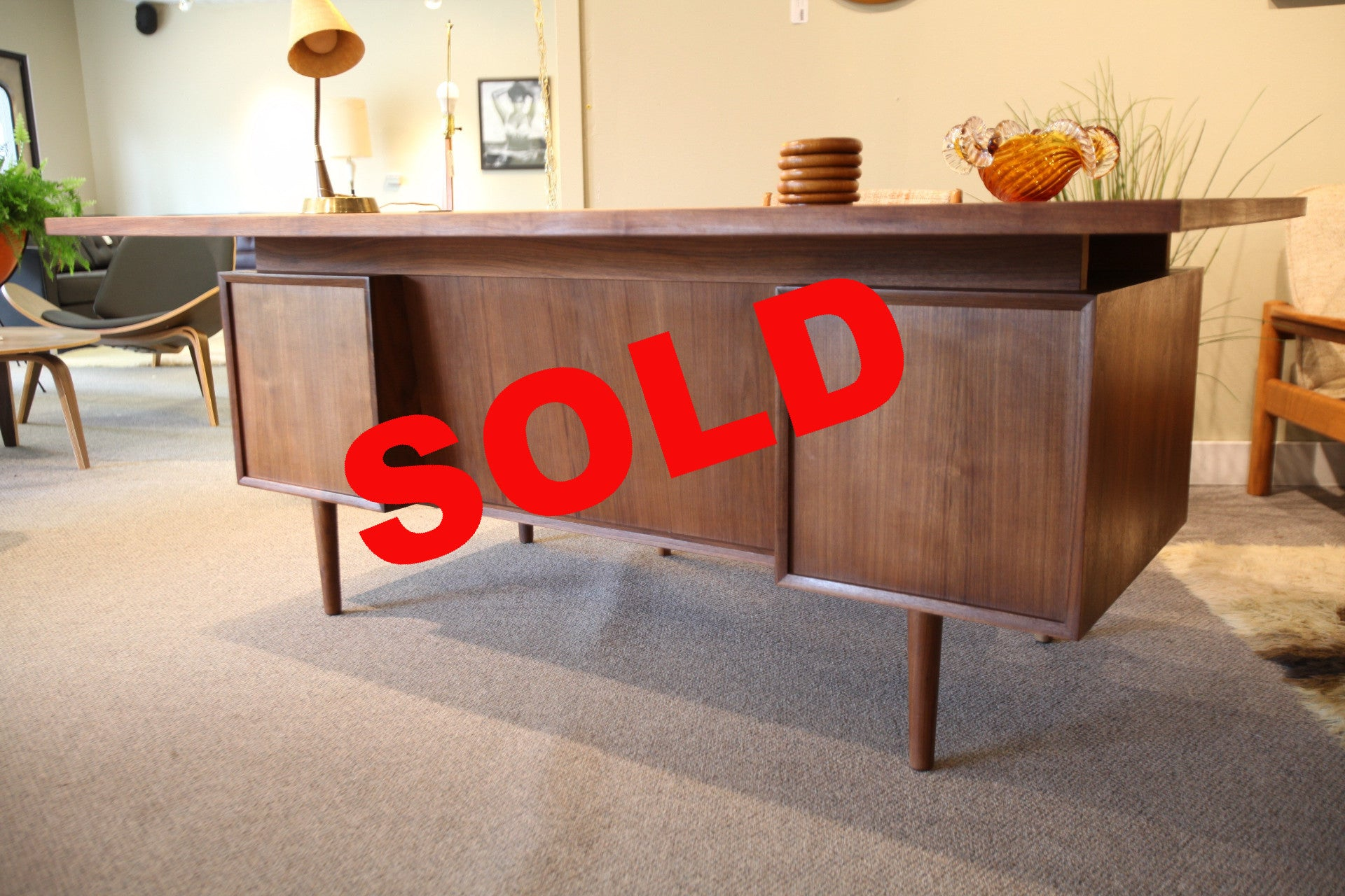 "Walnut Mid Century Floating Executive Desk (72""x36""x29"")"