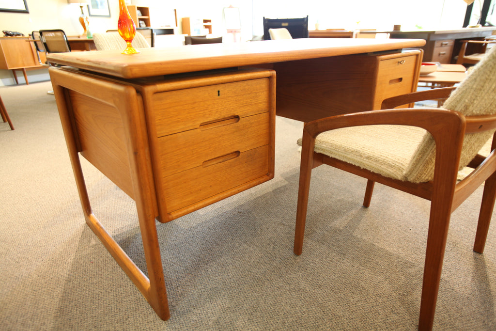 "Dyrlund Danish Teak Floating Executive Desk (61""x29.5"")"