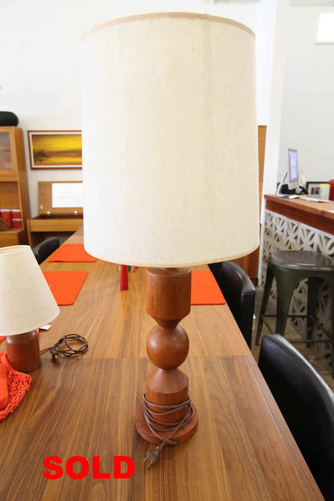 "Vintage Teak Table Lamp (32""H x 14"" Dia.)"