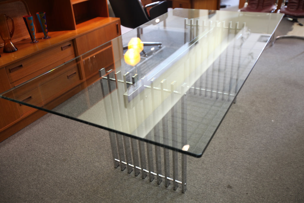 "Cidue Chrome and Glass 1970's Dining Table (Italy) (79""x39.5"")"