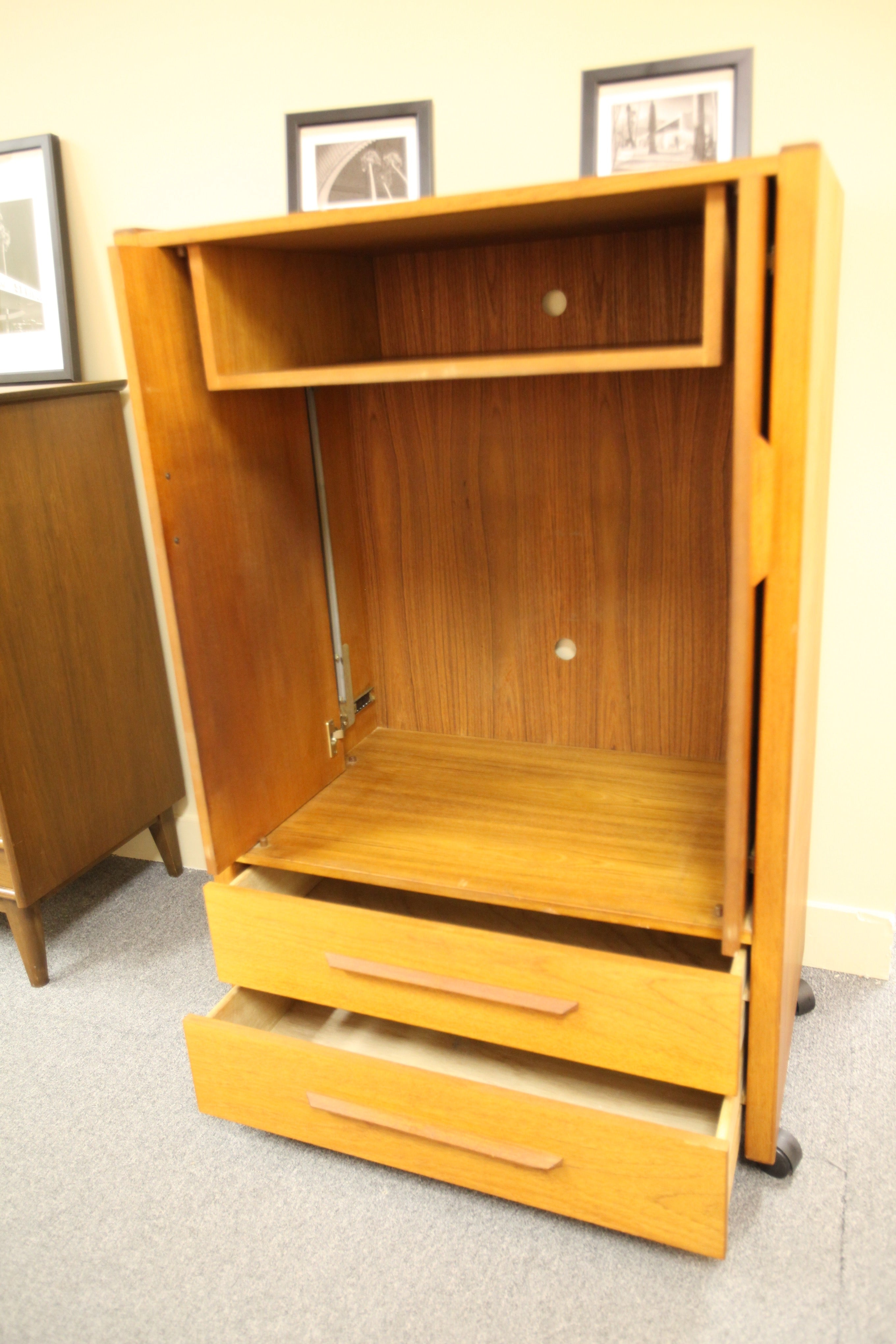 Teak Armoire with Drawers (33.5W x 50.75H x 20.25D)
