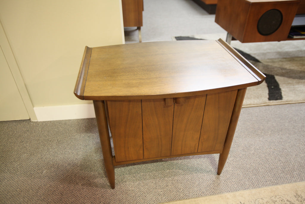 "Mid Century Walnut End Table (28""W x 23.5""H x 20""D)"