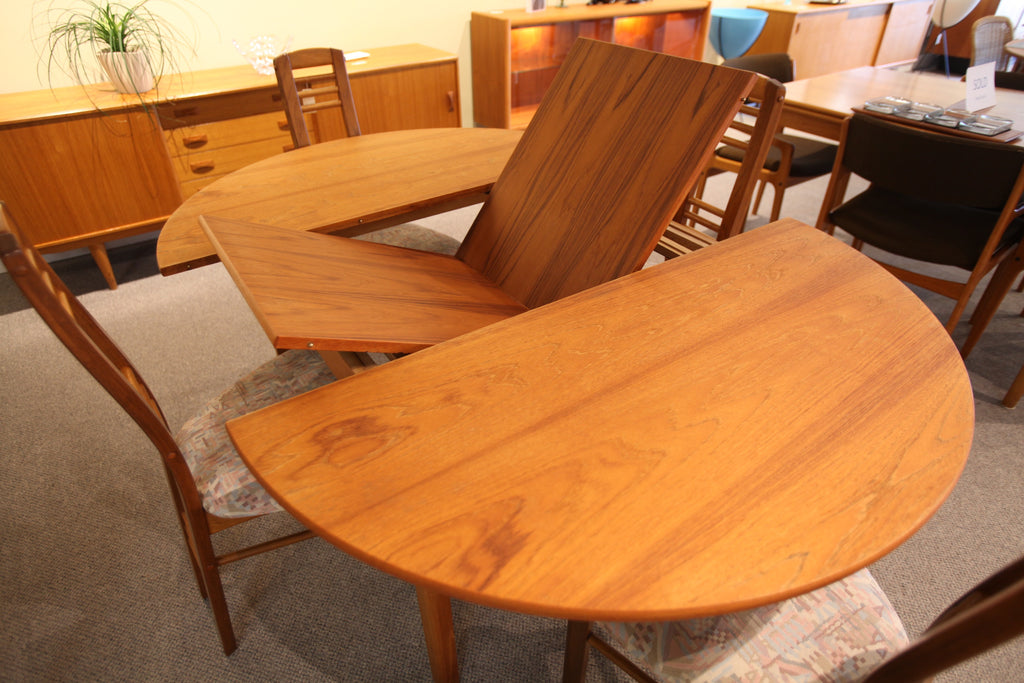 "Round Teak Table with Butterfly Leaf (66.75"" x 47"") or (47"" x 47"")"