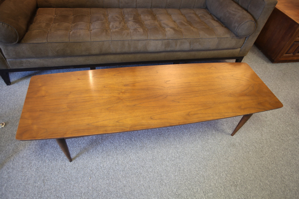 "Long Surfboard Style Walnut Coffee Table (59.5"" x 19.75"" x 15""H)"