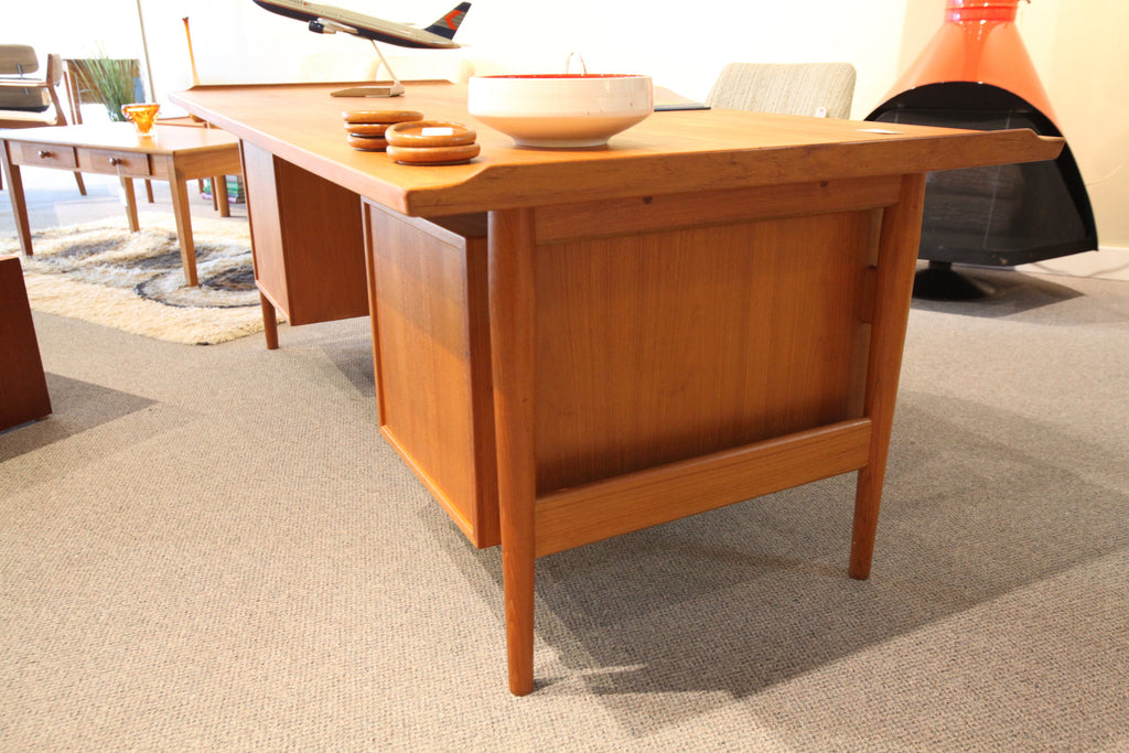 "Large Teak Executive Desk (80.5"" x 35.5"" x 28""H)"