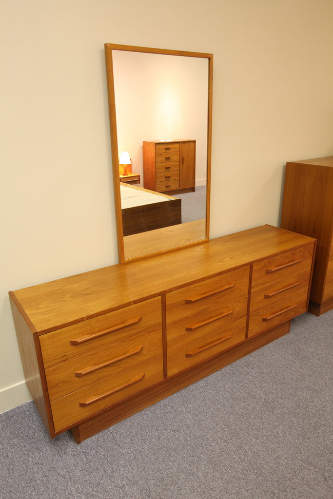 "9 Drawer Teak Dresser with mirror (68.75""W x 26.25""H x 16""D)"
