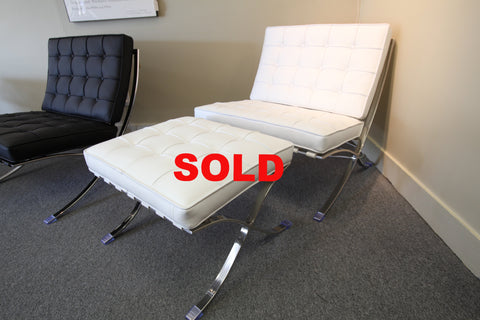 White Leather Barcelona Chair and Ottoman (Replica)