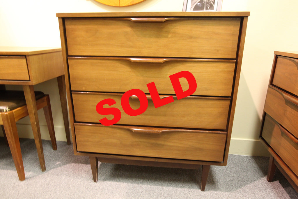 "Tallboy Walnut 4 Drawer Dresser (34""W x 38""H x 18""D)"