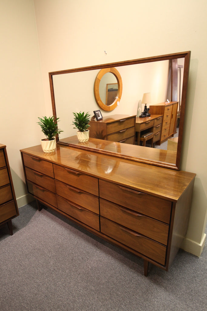 "9 Drawer Walnut Dresser with Mirror (72""L x 31""H x 18""D)"
