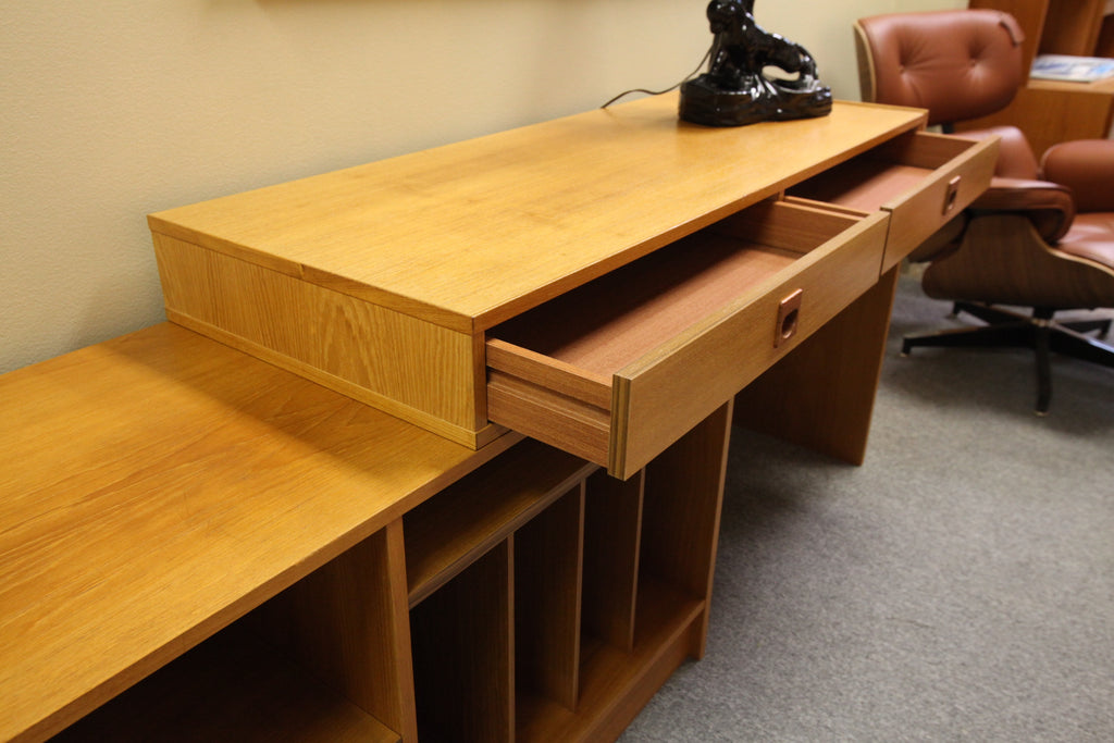 "Danish Teak Expandable Desk/Stereo Stand (48""L x 7' plus x 18""D)"