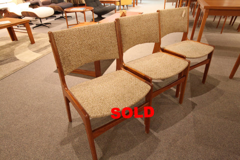 Set of 3 Danish Teak Chairs
