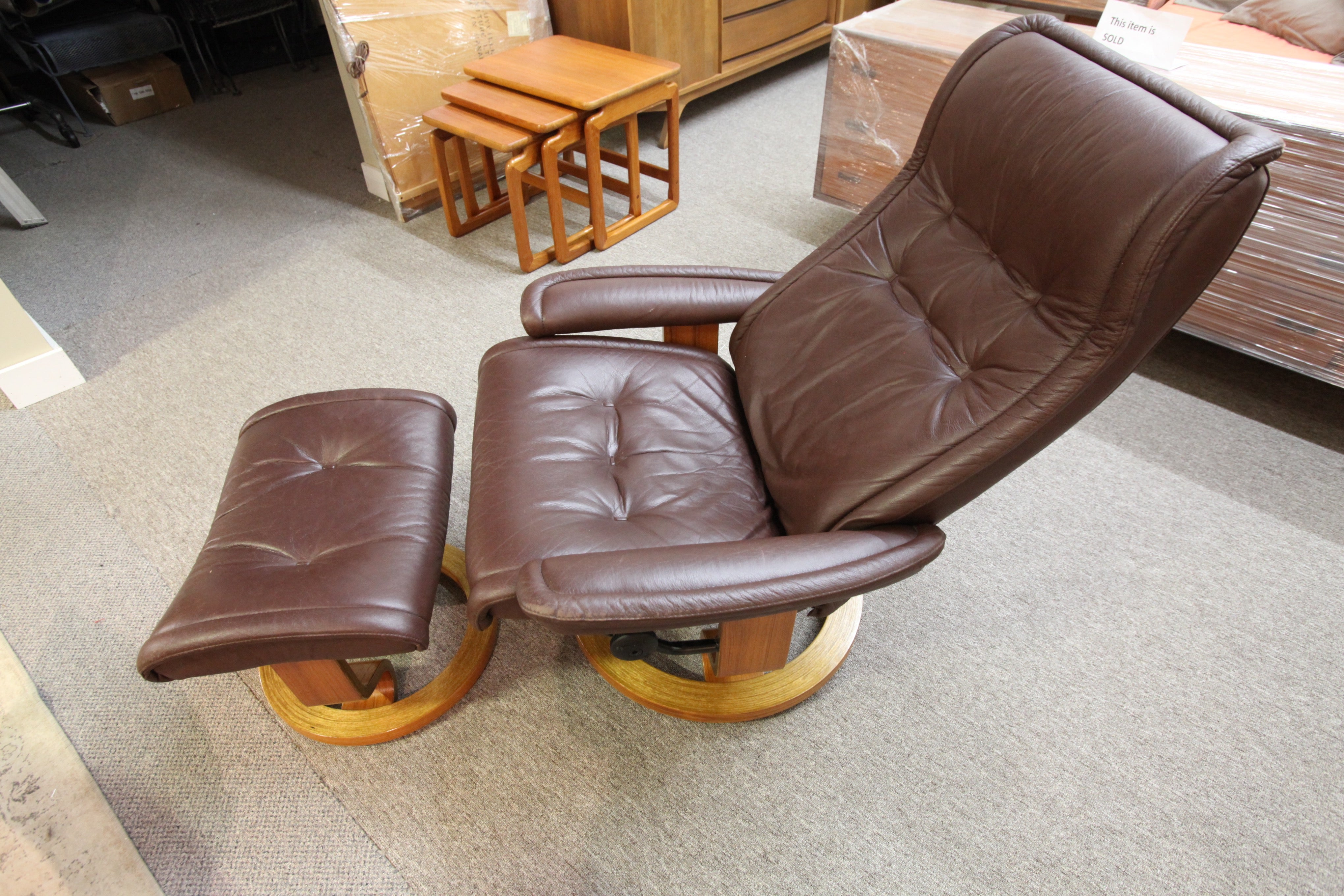Ekornes Stressless Brown Leather Recliner and Ottoman