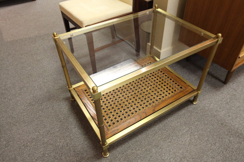 Brass and Wood Coffee/Side Table