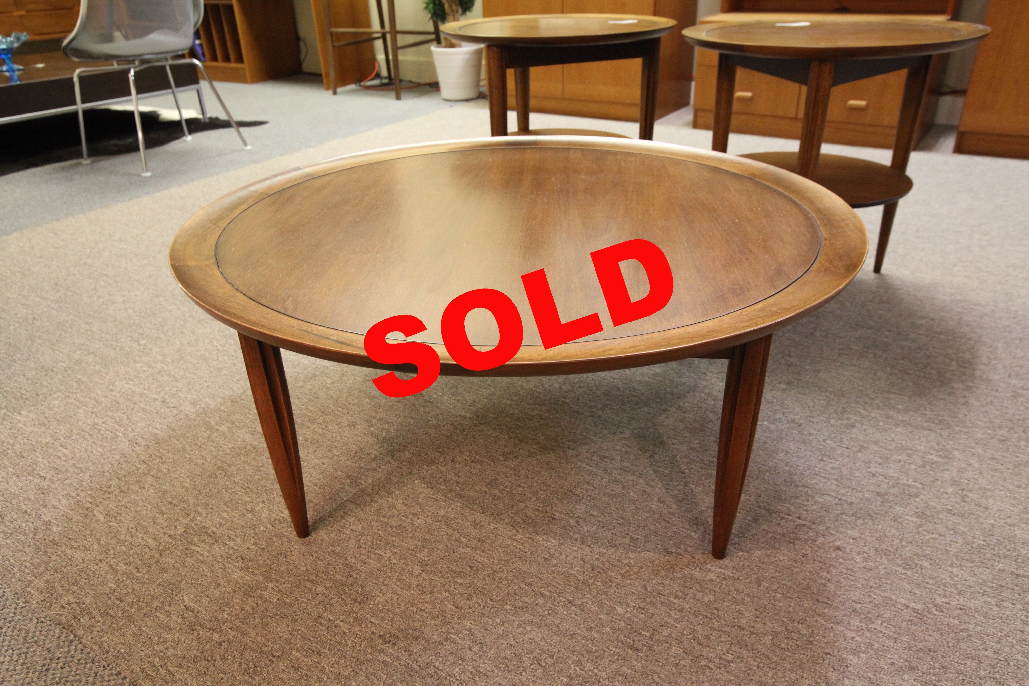 "Round Walnut Coffee Table by Dielcraft (38"" across x 16""H)"