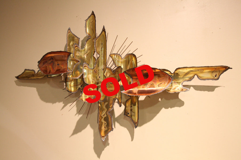 "Copper/Brass Mid Century Metal Art (44"" x 25"")"