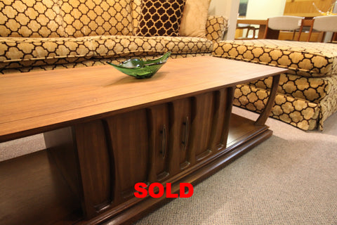 "Walnut Coffee Table w/sliding door (60""L x 22""W x 16""H)"