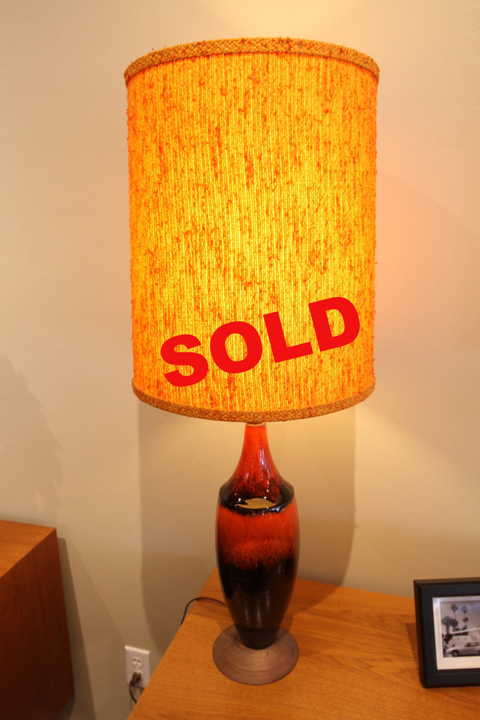 "Rare Blue Mountain Pottery Lamp (Orange Colour) w/wood base (37""H)"