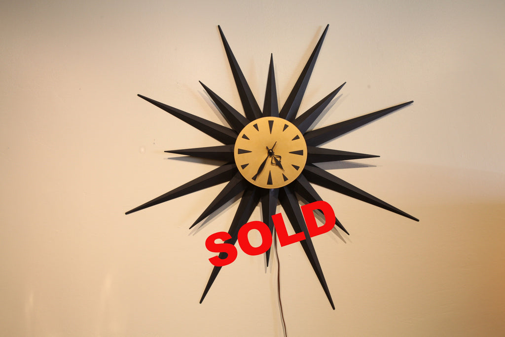 "Large Starburst Mid Century Clock (Measures 36"" across)"