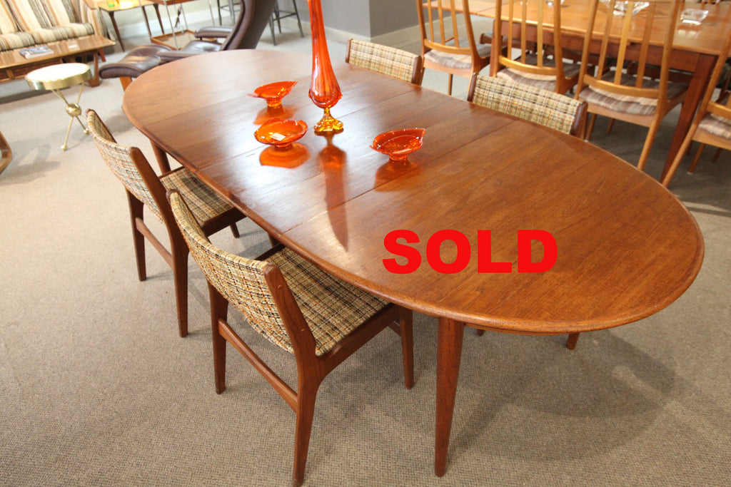 Danish Mid Century Gudme Mobefabrik Teak Dining Table/ 3 extensions
