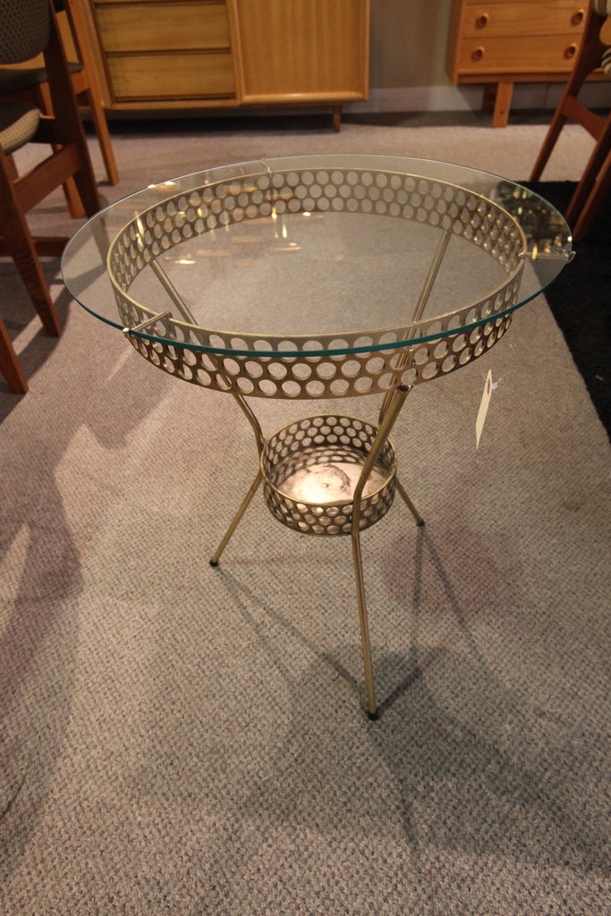 "Brass Side Table/Plant Stand (17.5"" across x 22""H)"