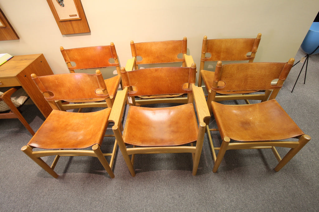 Set of 6 Danish Hunting Chairs by Borge Mogensen (Leather/Oak 1960's)