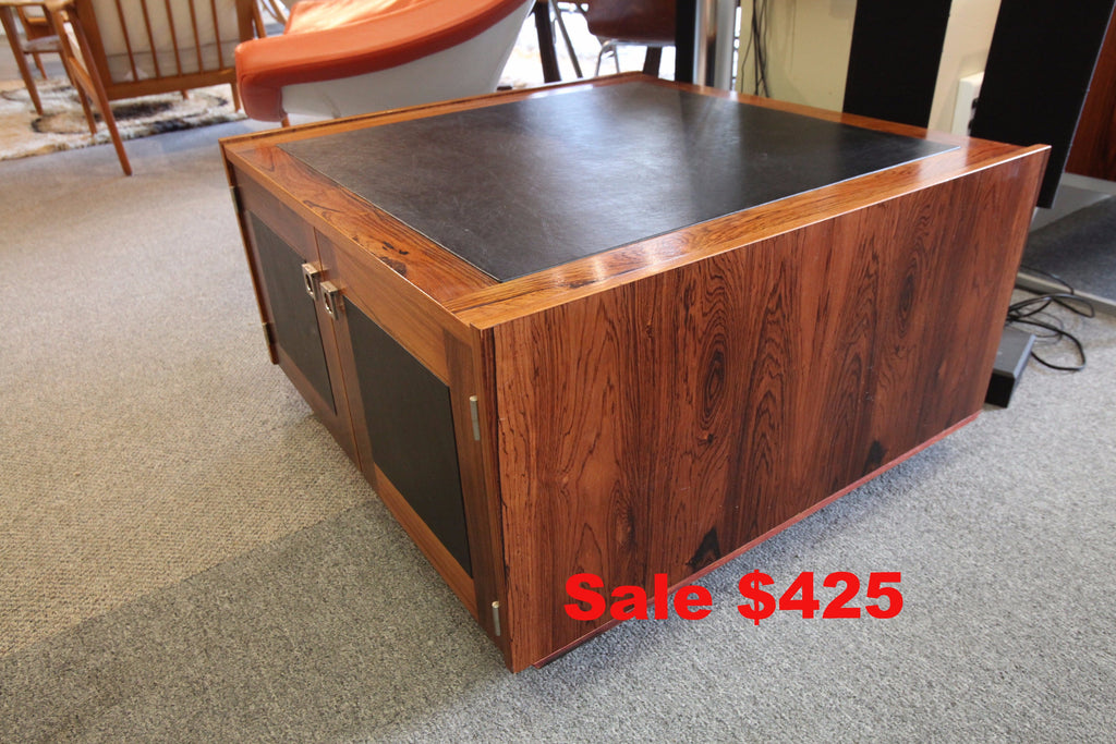 "Leather Top Rosewood Side Table (31.5"" x 31.5"" x 18'H)"