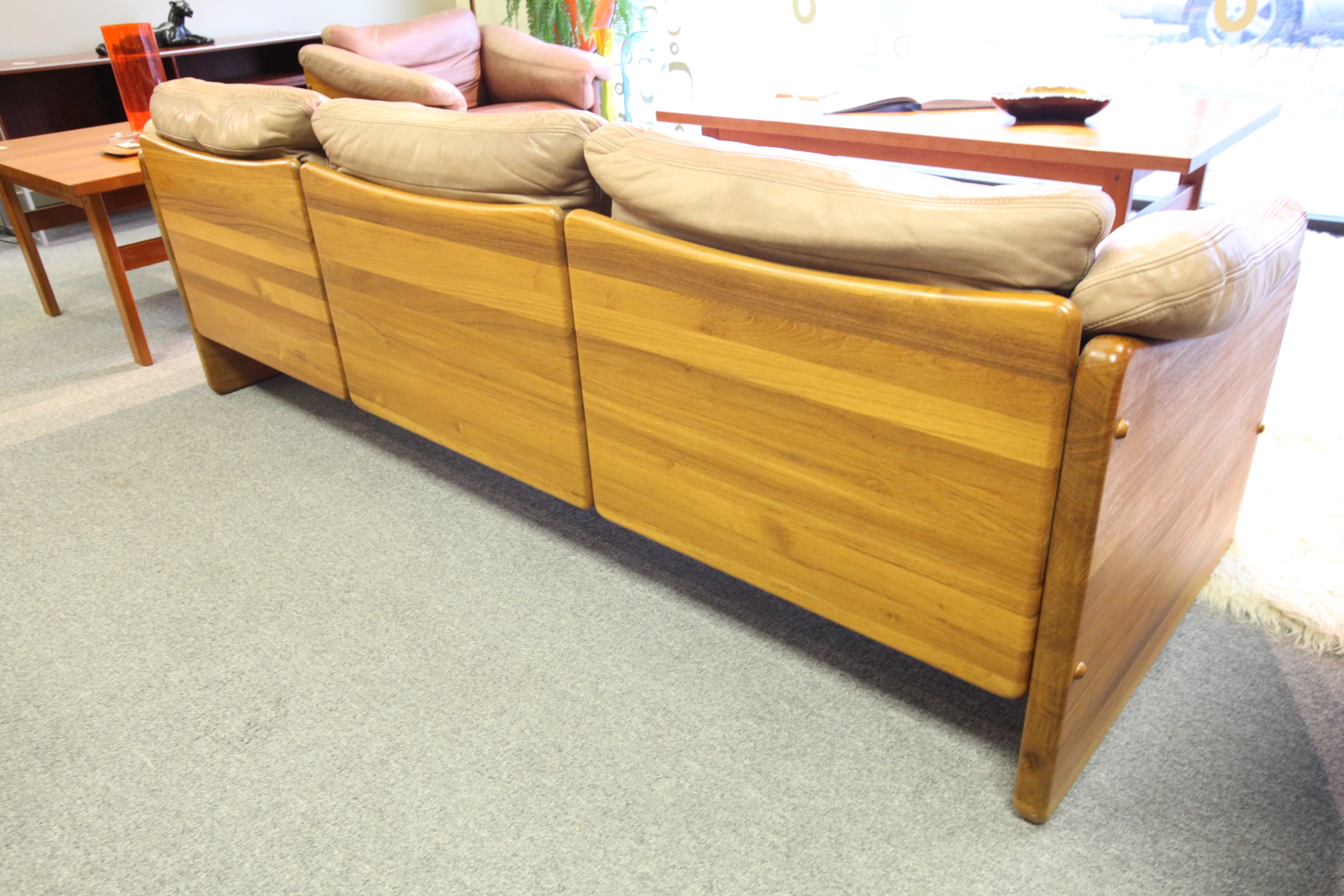 Fabulous Solid Teak/Leather Danish Sofa, Love Seat, Arm Chair Set