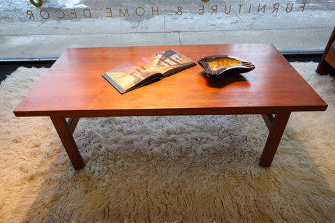 "Solid Teak Danish Coffee Table (55""L X 27.5""W X 20""H)"