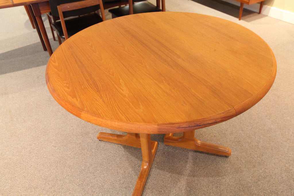 "Round Teak Dining Table with one Leaf (63.5""L x 42""W) or (42"" round across)"