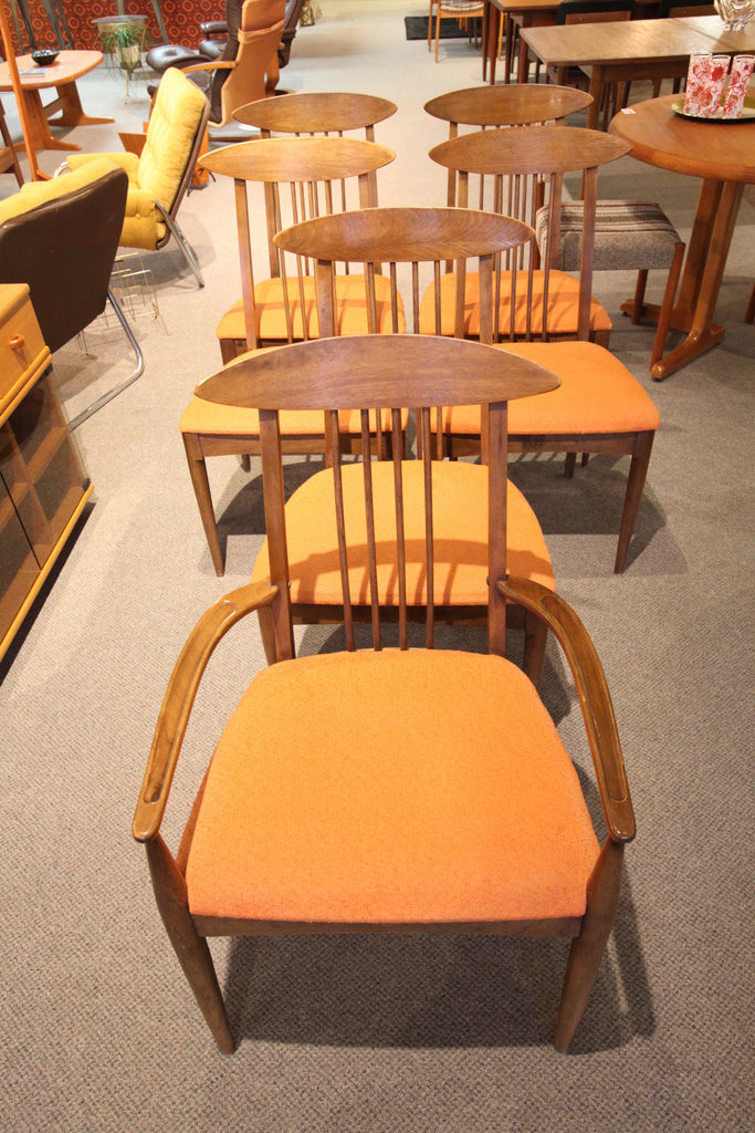 Set of 6 Vintage 1960's Mid Century Lenoir Walnut Chairs