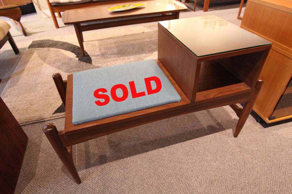 Hard to Find! Mid century Walnut Entrance/Telephone Bench