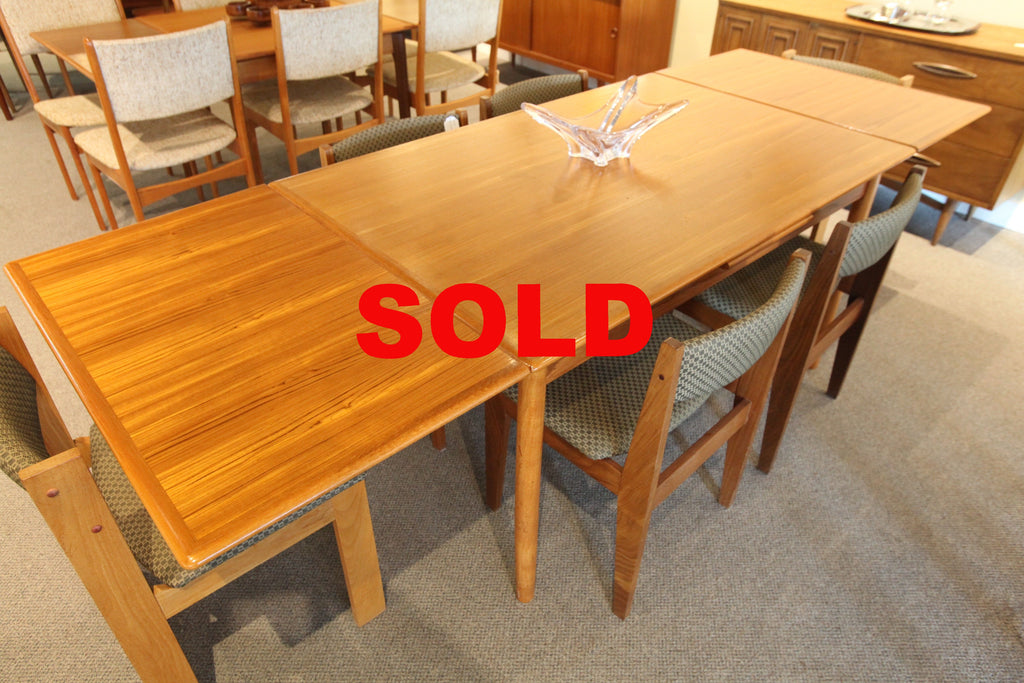 "Danish Teak Dining Table w/Extensions (97"" x 35"") or (54.75 x 35"")"
