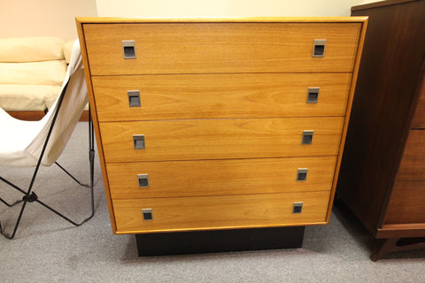 "Teak 5 Drawer High Boy Dresser (36""W x 18""D x 39.25""H)"