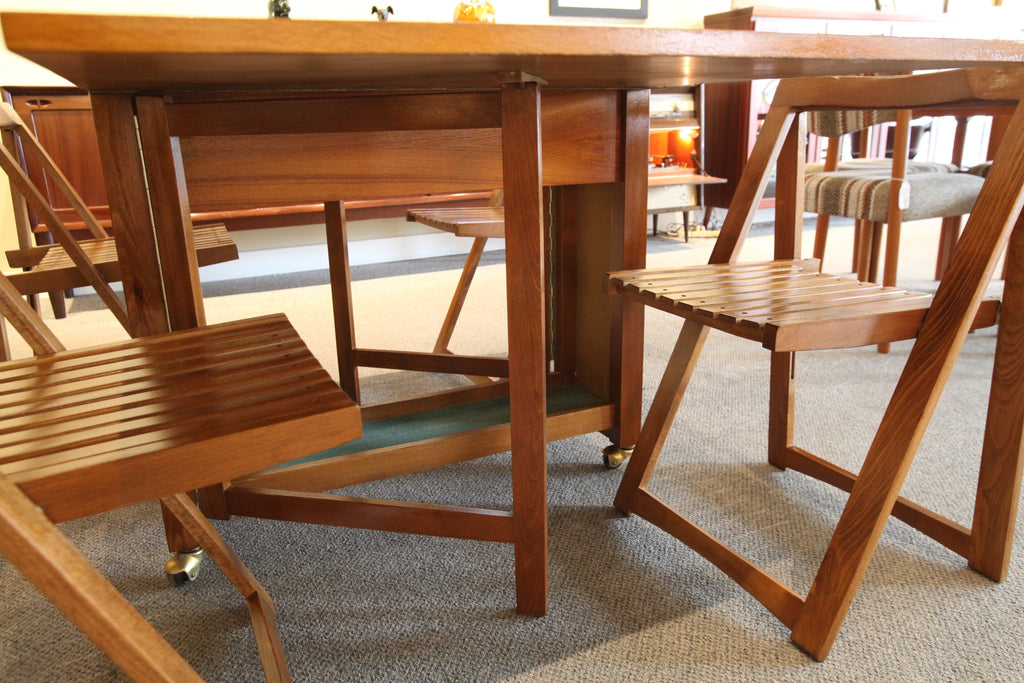 "Vintage Folding Teak Table w/4 Folding Chairs (61.75""L x 34""W x 28.75""H)"