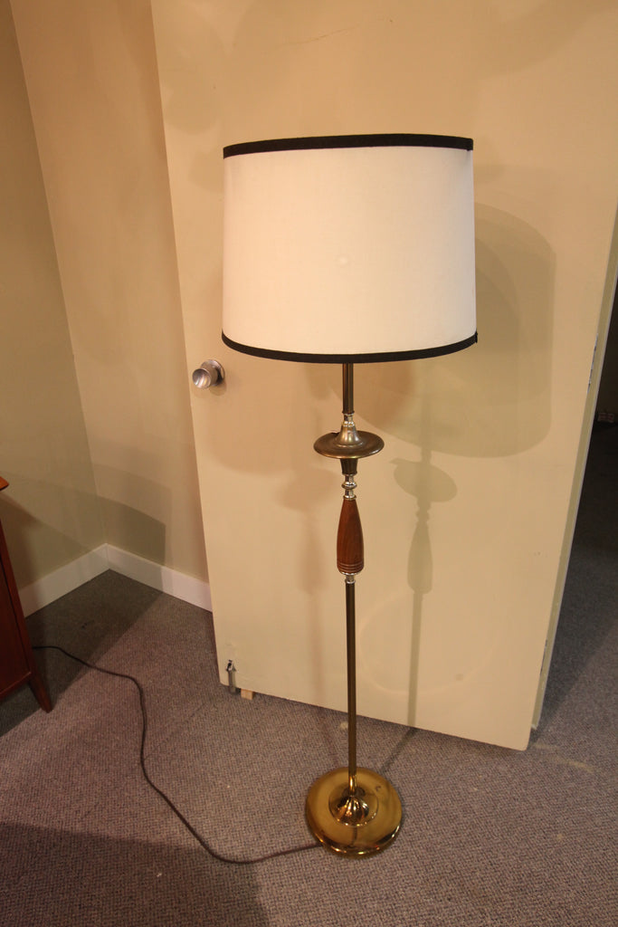 Mid Century Reflector Floor Lamp (wood/brass)