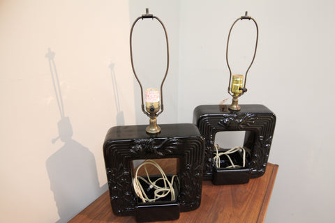 Set of 2 Black Ceramic Vintage Lamps