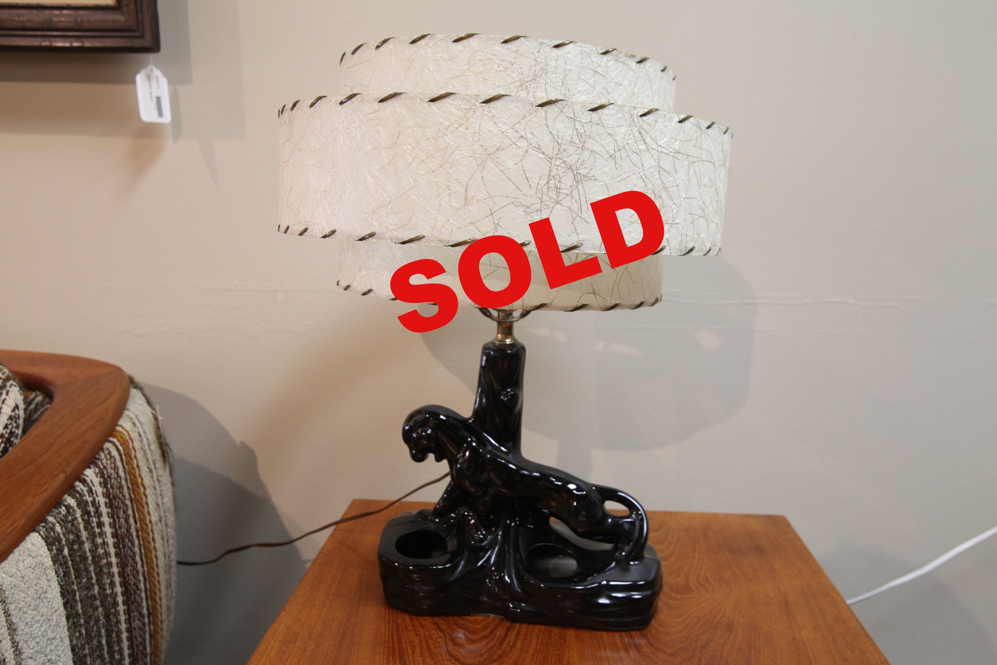 "Vintage Black Panther Lamp w/shade (20""H x 17""W)"