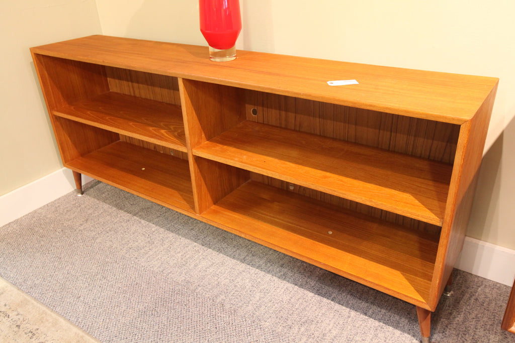 "Teak Book shelf on legs (59""L x 11.5""D x 25""H)"