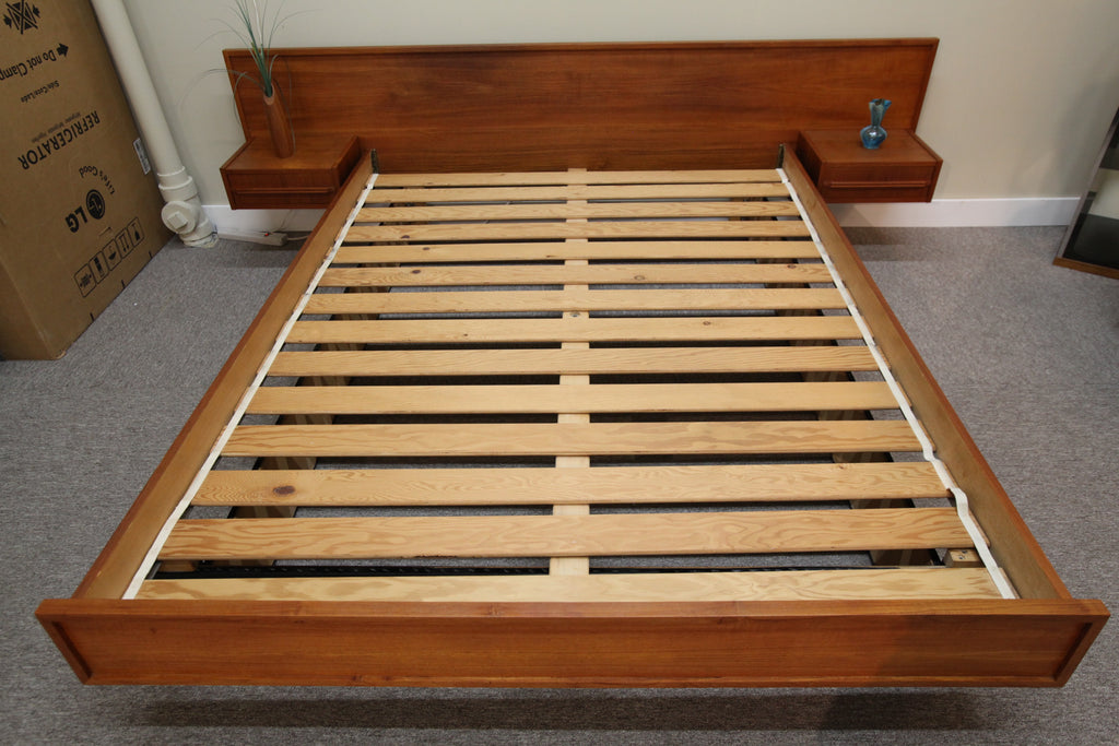Floating Teak Bed w/night Stands