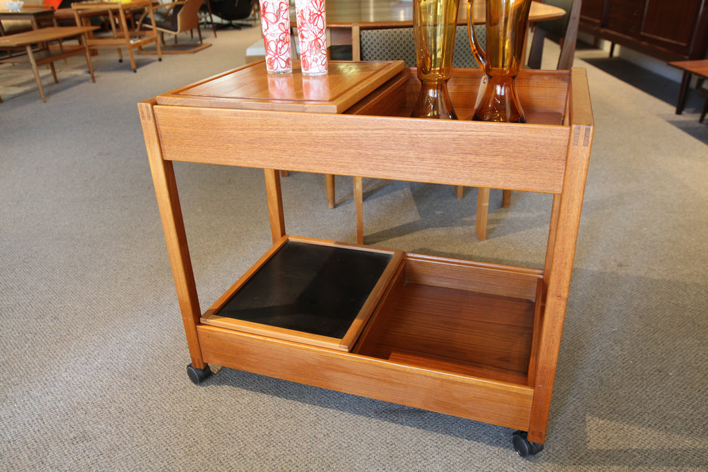 "Danish Teak Bar Cart w/drawer & boards (31.5""L x 19""W x 27""T)"
