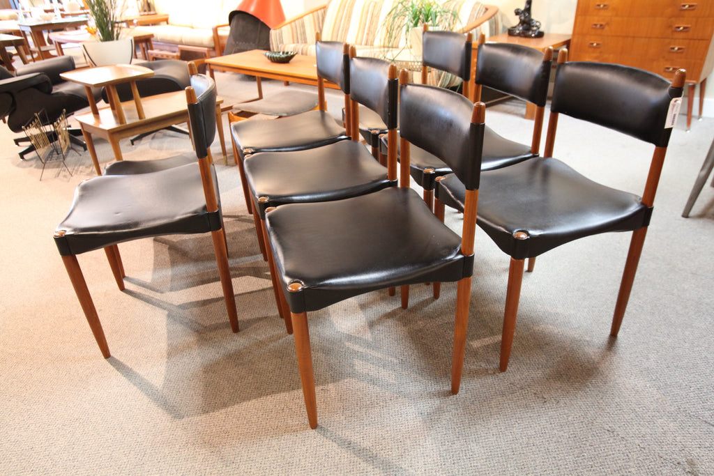 Set of 7 Danish Chairs by Anders Jensen (Includes matching ottoman/footstool)