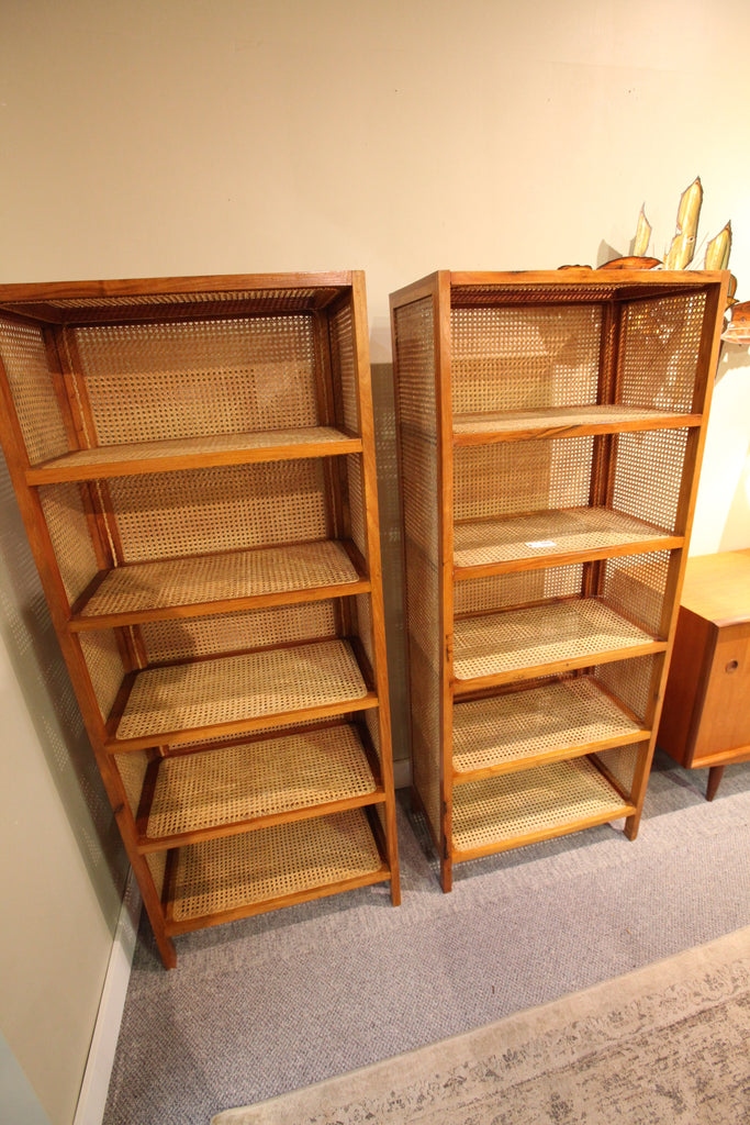 "Rare Teak & Wicker Bookshelves (64""T x 25.75"" W x 14'D)"